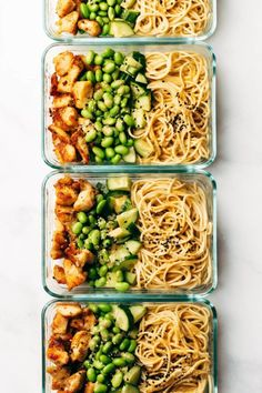 Meal Prep Sesame Noodle Bowls! Fork-twirly noodles, an easy creamy sesame sauce, perfect browned chicken, and all the veg. YUM. #mealprep #sesame #noodles | pinchofyum.com