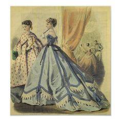 Civil War Fashion, 19th Century Fashion, Victorian Art, Classic Literature, Custom Posters, Poster Wall, Custom Framing, Sewing Crafts, Vibrant