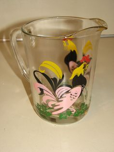 Vintage HAZEL ATLAS Rooster PITCHER to match Swanky Swigs.