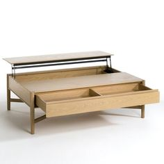 IRMA Oak Coffee Table with Lift-Up Top AM.This coffee table is decorative and functional all in one! It features a clever split table top which lifts up to. Lift Up Coffee Table, Garden Coffee Table, Large Coffee Tables, Oak Coffee Table, Luxury Bedroom Furniture, Home Decor Furniture, Furniture Design, Center Table Living Room, Dining Room