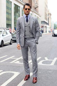 Burberry Three-Piece Suits For Men - Burberry - Suit Mature Mens Fashion, Suit Fashion, Three Piece Suit For Man, Burberry Suit, Double Breasted Waistcoat, Most Stylish Men, Stylish Man, Best Dressed Man, Elegant Man