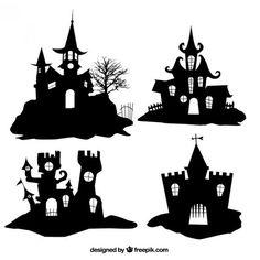 Silhouetten von Halloween-Häuser Premium Vektoren