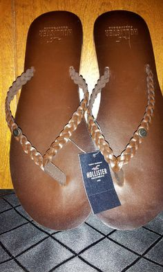 Hollister braided leather Flip flops. I have a pair and I absolutely LOVE them. Braided flippys are my favorite!