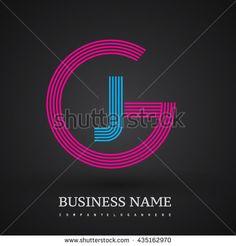 Letter GJ or JG linked logo design circle G shape. Elegant red and blue colored letter symbol. Vector logo design template elements for company identity.