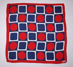 Vintage Designer Retro Mod Silk Red White & Navy Blue Nautical Geometric Scarf by Burmel Hand Rolled