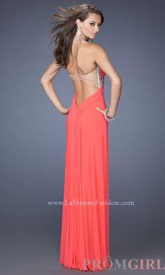 La Femme Strapless Prom Dresses, Open Back Evening Gown-PromGirl