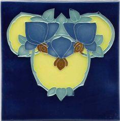"""Tile V42B - Reproduction Art Nouveau Tile  - porteous nz - Tiles are aprox. 150mm x 150mm (6"""" x 6"""") or 150mm x 75mm (6"""" x 3"""")."""