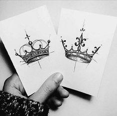 his and her crown tattoo designs , seine und ihre krone tattoo designs , Future Tattoos, New Tattoos, Body Art Tattoos, Tatoos, Badass Tattoos, Piercing Tattoo, Piercings, Corona Tattoo, Crown Tattoos For Women