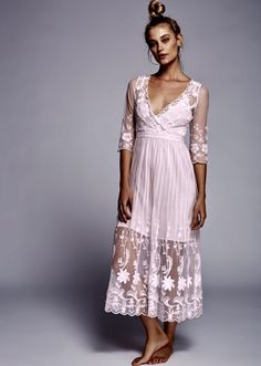 NEW Free People baby pink Sheer Embroidered Floral Mesh Maxi Dress mini slip M #FreePeople #embroideredmeshmaxiMaxi #Festive