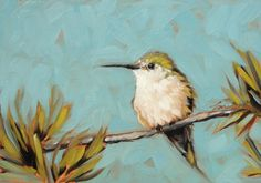 "6x6"" Hummingbird original oil painting by Andrea Lavery available www.etsy.com/shop/LaveryART"