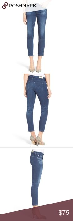 AG The Prima Crop Cigarette NWT 25 4Year Grassland AG 'The Prima Crop' Cigarette NWT 25 4 Years Grassland  Dramatic fading highlights the crisply whiskered details of slim-fitting cigarette-leg jeans cut with cropped hems for a summer-ready look. Classic five-pocket styling and signature back-pocket embroidery finish this vibrant blue pair.  10 oz Superior Stretch Denim 4 Years Grassland the perfect shade of indigo blue hue with naturally placed fading at the knees and whiskers at hips. Back…