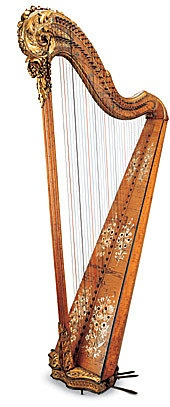 Single action pedal harp (pedals à sabots/crochets) by Jean-Henri Naderman (1735-1799), founder of the famous maison, in the very year that the future Queen Marie Antoinette arrived in Paris, becoming Madame la Dauphine.  The decoration is sober: the gilding appears only on the scroll at the top of the column, at its base and at the base of the instrument, while three pairs of bouquets of flowers painted in white and beige disguise the sound holes. France, 1770.
