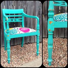 Chalk Paint Arm Chair. Funky Upholstery