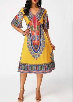V Neck Dashiki Print Half Sleeve Dress on sale only US$34.90 now, buy cheap V Neck Dashiki Print Half Sleeve Dress at liligal.com