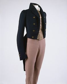 "1829 British Silk and Wool Suit of Clothes. Labled ""Newton Maker, Bold St."" See additional images for it at http://www.metmuseum.org/Collections/search-the-collections/80000954?rpp=60=1=*=A.D.+1800-1900=Suits=2#"
