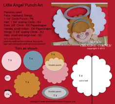 Alex's Creative Corner: Punch Art Angel Instructions . . . more at http://alexscreativecorner.blogspot.com/2013/11/little-angel-card.html