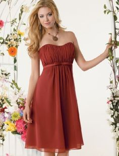 Fall inspired burnt orange bridesmaid dress - cute!