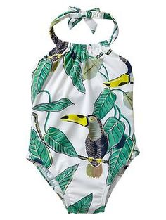 Tropical toucan halter one-piece from Gap Kids | if only it came with a yellow ruffle on the legs!
