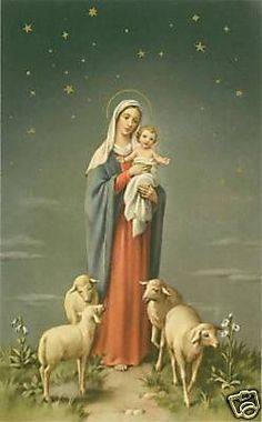 Vintage Catholic Large Holy Card Mary Baby Jesus Lamb | eBay