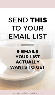 Don't know what to send to your email list? If you are working to build and email list these 9 types of emails will help you figure out what to send your audience, to keep them subscribed! Grow An Email List | Email List Building | How To Grow An Email Li