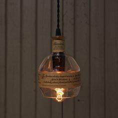 Blanton's Bottle Pendant Light - Upcycled Industrial Glass Ceiling Light - Handmade Bourbon Bottle Light Fixture, Recycled Lighting by ReWickedCandle on Etsy https://www.etsy.com/listing/250196379/blantons-bottle-pendant-light-upcycled