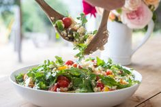 Orzo with Cherry Tomatoes, Feta and Mint Best Potluck Dishes, Potluck Recipes, Summer Recipes, Salad Recipes, Giada Recipes, Healthy Recipes, Healthy Salads, Easy Recipes, Cold Pasta