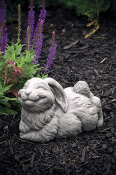 Lawn Ornament Animal Rabbit Statue - Cotton - Concrete Statue