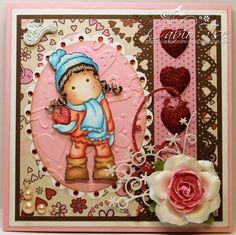 Magnolia Tilda with Snowheart Winter Love Valentine's card