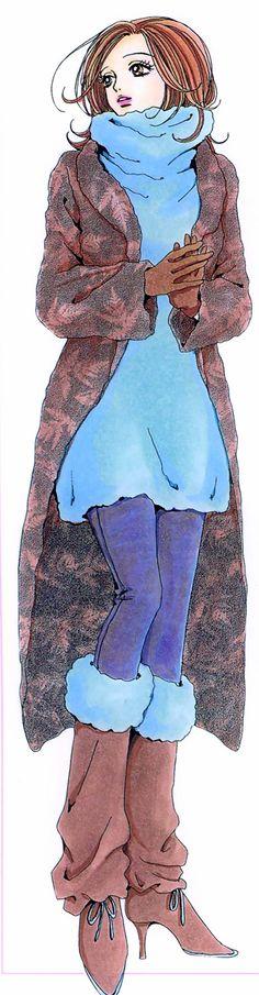 """Nana """"Hachi"""" Komatsu wearing blue sweater & brown slouchy boots from """"Nana"""" series by manga artist Ai Yazawa."""