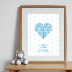 Bespoke #gift ideas: personalised #heart #poster design for boys