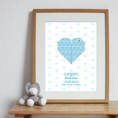 Bespoke #gift ideas: personalised #heart #poster design for boys