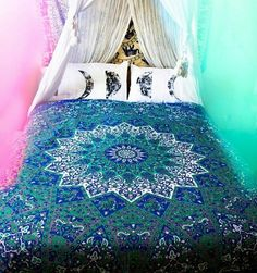 Dark Blue Six Color Floral Mandala Duvet Cover Bohemian Doona Set Indian Reversible Quilt Hippie Decotaive Bedding Throw Handmade 2 Pillow Elephant Tapestry, Dorm Tapestry, Tapestry Bedroom, Bohemian Tapestry, Mandala Tapestry, Trippy Tapestry, Hippie Bohemian, Cool Tapestries, Mandala Duvet Cover
