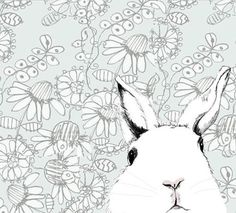 Bunny Rabbit Print - White Rabbit Drawing  - Where's Alice  Wallpaper Background. $20.00, via Etsy.