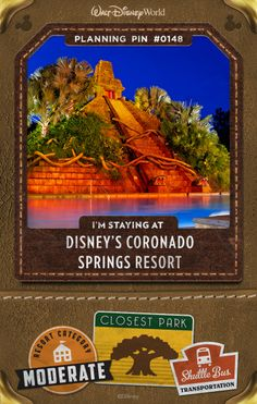 Walt Disney World Planning Pins: Relive the romance of Spanish-colonial Mexico as you follow in the footsteps of explorer Don Francisco de Coronado at this Resort hotel. Find your own mythical city of gold in a Southwestern-themed haven of brightly colored Casitas, rustic Ranchos and beachfront Cabanas encircling a glimmering 22-acre lake. Each accommodation provides a unique escape and a welcoming home away from home.