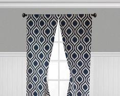 Navy Blue Curtains Geometric Lattice Panels Window Treatments