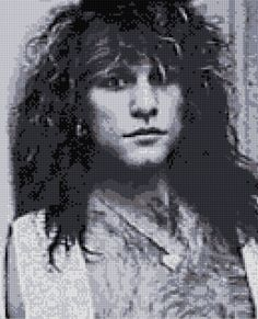 Jon Bon Jovi Backstage Cross stitch portrait pattern BW - PDF - EASY chart with…