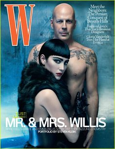 Bruce Willis and...no...not Demi Moore, although his girlfriend is a dead ringer for a young Moore. Oh dear...... W, 2009