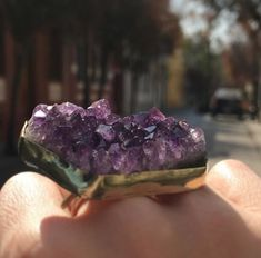 maxi amethyst geode ring, set in bronze. Magenta, Amethyst Geode, Photo And Video, Crystals, Ring, Instagram, Bronze, Rings, Crystals Minerals