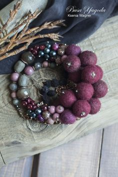 Necklace with wool beads