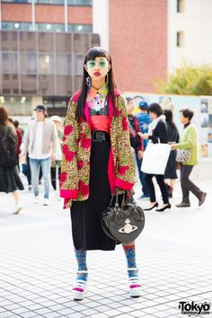 Japanese Fashion Student in Vintage Mixed Prints Street Style w/ Bubbles Tokyo & Vivienne Westwood