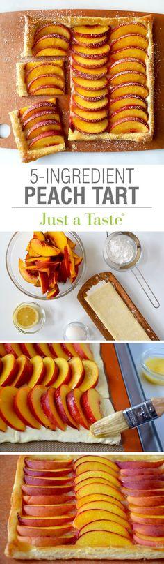 5-Ingredient Peach Tart #recipe via justataste.com