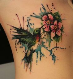 Hummingbird watercolor tattoo. How pretty.