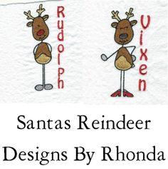 Santas Reindeer Comical Machine Embroidery by DesignsByRhonda