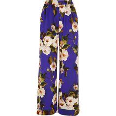 Dolce & Gabbana Floral-print stretch-silk charmeuse wide-leg pants ($1,265) ❤ liked on Polyvore featuring pants, trousers, bottoms, blue, calça, purple, colorful pants, dolce gabbana pants, stretch pants and wide-leg pants