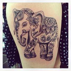 Tatouage éléphant (inspiration indienne) by Merries Melody tattooshop66