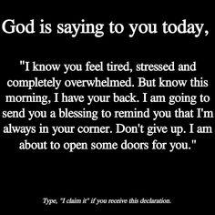 I claim it! God Prayer, Prayer Quotes, Bible Verses Quotes, Spiritual Quotes, Faith Quotes, Positive Quotes, True Quotes, Spiritual Awakening, Spiritual Prayers