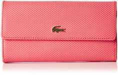 Lacoste Women's Chantaco Continental Wallet, Cayenne, One Size. Textured leather wallet featuring metallic logo at front and contrast color at interior.