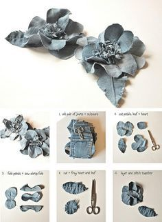 Diy denim flowers Recycle jeans Go Green Diy Denim, Recycled Denim, Diy Jeans, Denim Flowers, Cloth Flowers, Fresh Flowers, Beautiful Flowers, Chiffon Flowers, Chiffon Fabric