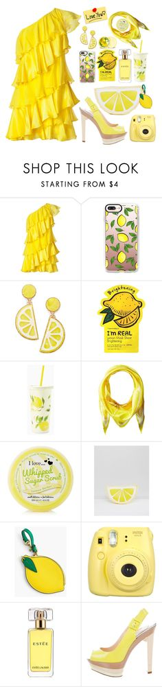 """Lemon Couture"" by thefabulousfashionblog ❤ liked on Polyvore featuring Halston Heritage, Casetify, Celebrate Shop, The Body Shop, Charlotte Russe, Kate Spade, Echo Design, South Beach, J.Crew and Fujifilm"