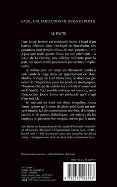 Babel Noir - 2014-01 - Lars Kepler - Le Pacte - Verso